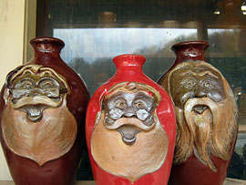 North Carolina Pottery - Santa Canisters